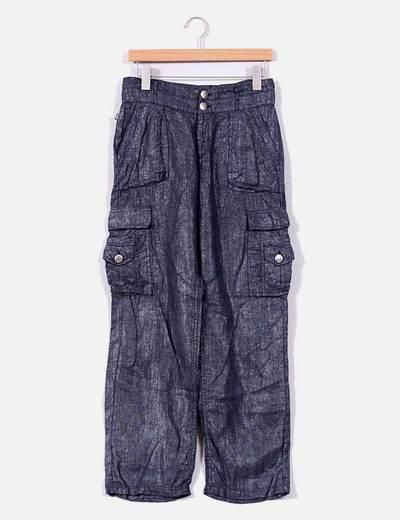 Pantalón  lino gris con brillo NoName