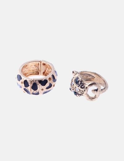 Pack anillos dorados animal print