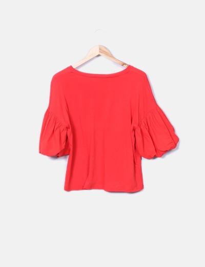 Mango T-shirt rouge avec motif à manches bouffantes (réduction 75%) -  Micolet ed17d86e1ae8