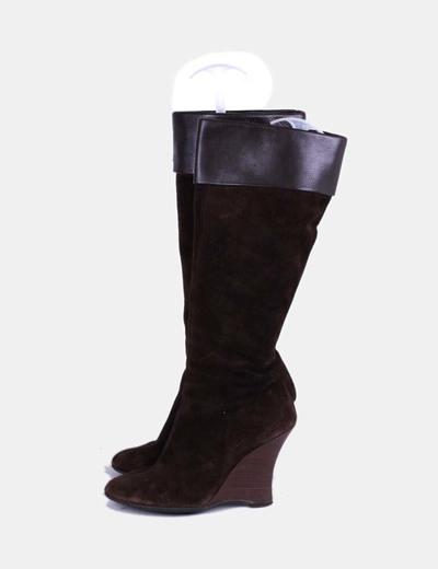 Botas ante marrón oscuro con cuña Zara