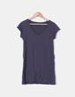 Camiseta gris larga cuello pico Shana
