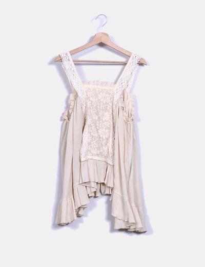Blusa vintage oversize beige  Hakei