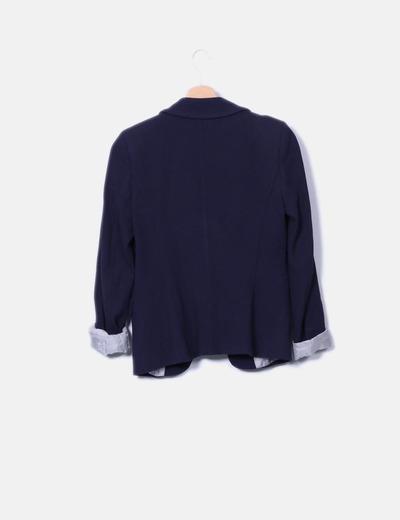 Blazer azul marino texturizada