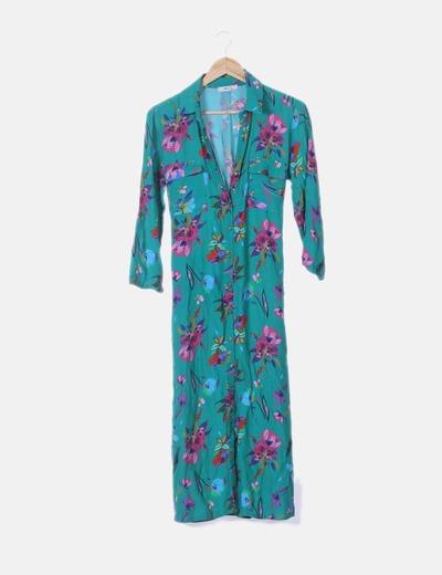 Maxi vestido camisero verde estampado floral