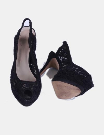 Crochet Toe Peep Zapato descuento Zara Negro Micolet 66 w7ZPqxEBn