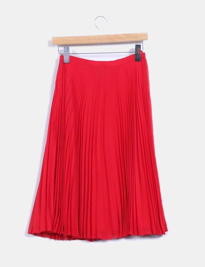 23d1039c55 Mango Falda midi roja plisada (descuento 71%) - Micolet