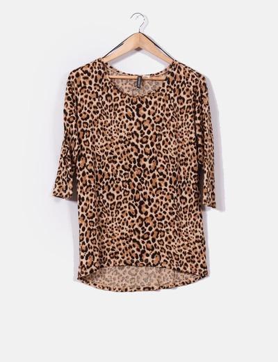 Top corte irregular print leopardo H&M