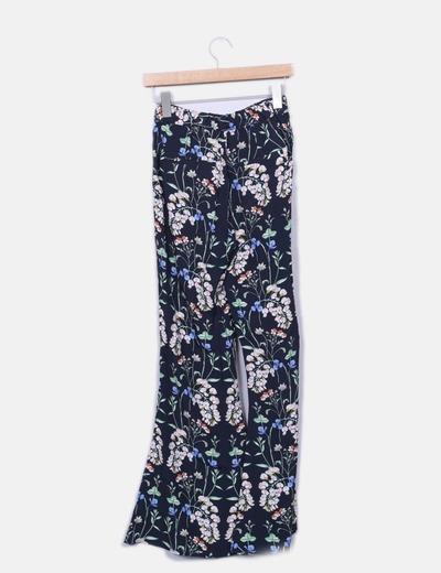 Pantalon palazzo azul marino floral