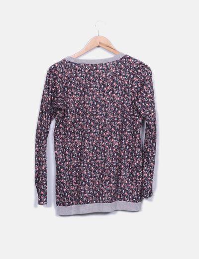 Camiseta floral manga larga