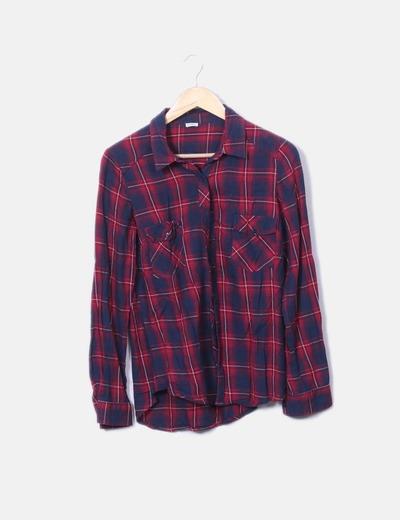 Camisa de cuadros roja y azul Pimkie