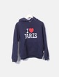 Sudadera azul con capucha mensaje I Love Paris