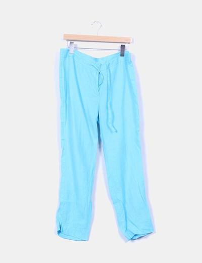 Pantalón turquesa de lino Elogy