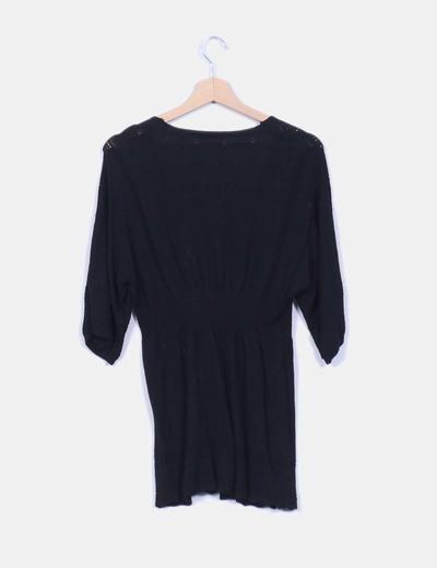 Bluson tricot negro troquelado