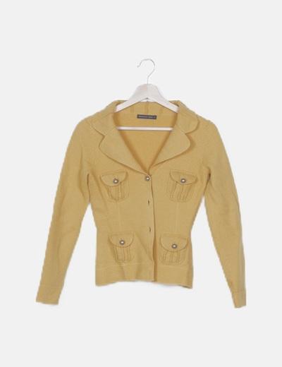 Chaqueta amarilla tricot con bolsillos