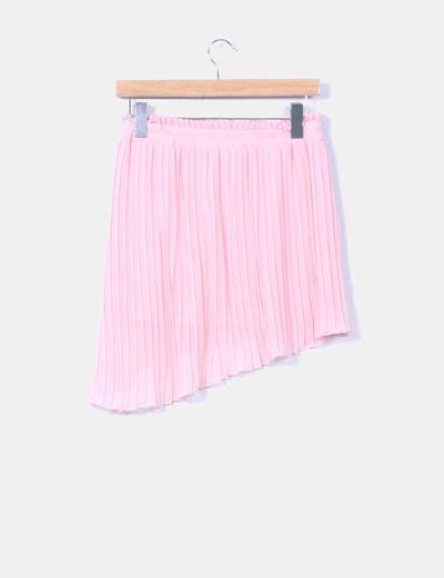 Falda rosa palo plisada