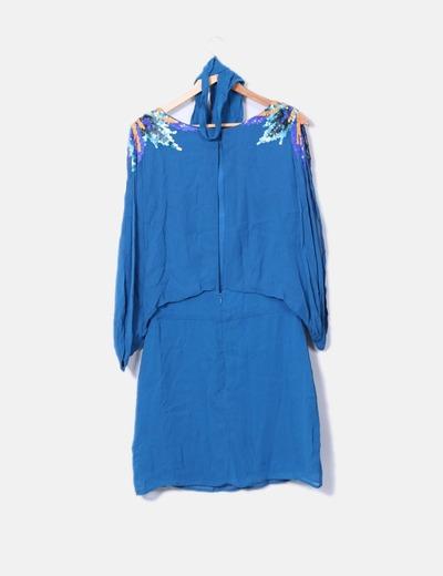 Vestido gasa azul petroleo con lentejuelas