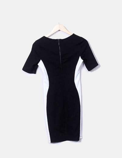 Vestido Blanco Y Negro Texturizado