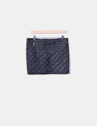 Falda negra acolchada detalle cremalleras S&DCOLORE