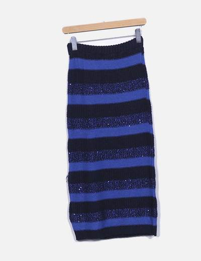 Falda larga de punto a rayas