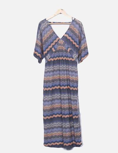 Maxi vestido tricot estampado étnico
