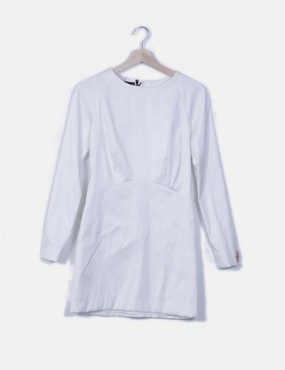 Vestido manga larga blanco estructurado