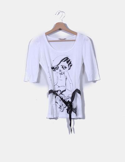 Camiseta manga francesa detalle lazo Stradivarius