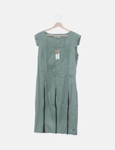 Vestido midi verde mint cremalleras
