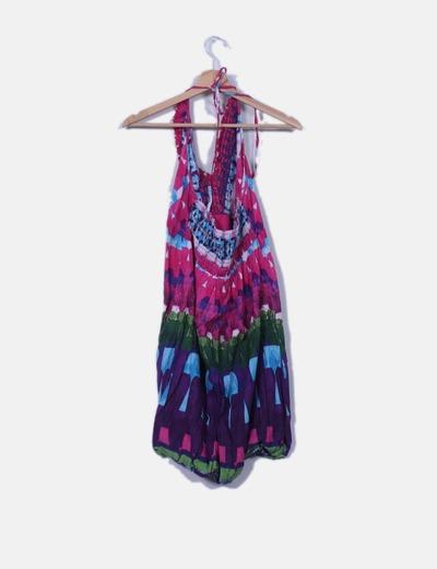 Vestido bombacho multicolor cuello halter