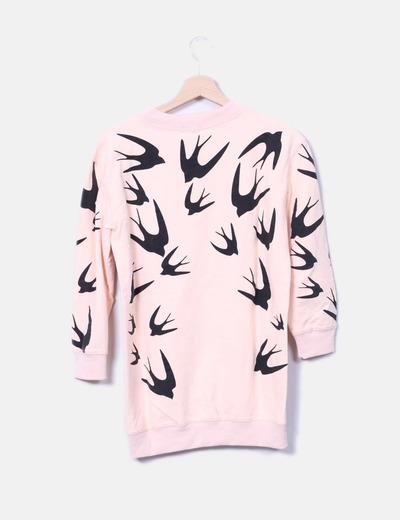 Sudadera rosa print birds