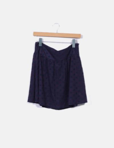 Mini-jupe bleu marine à pois Vero Moda