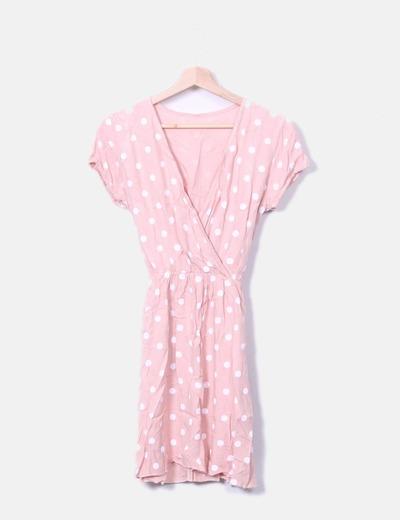 Vestido midi rosa lunares NoName