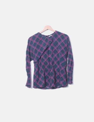 Blusa verde raya rosa detalle