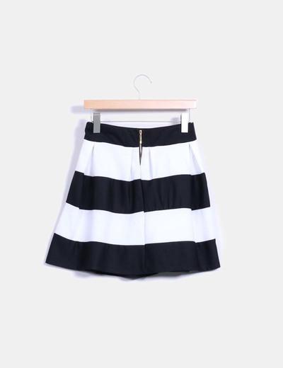 Falda midi bicolor de rayas