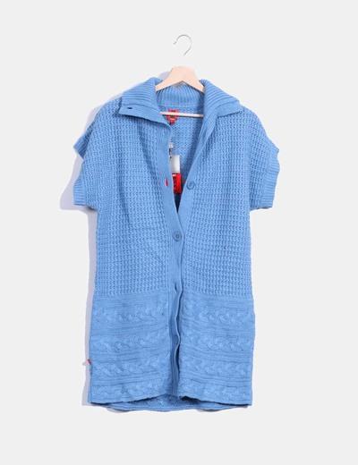 Cárdigan azul de punto manga corta Pedro del Hierro