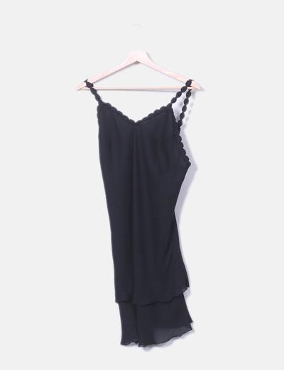 Vestido lencero negro combinado NoName