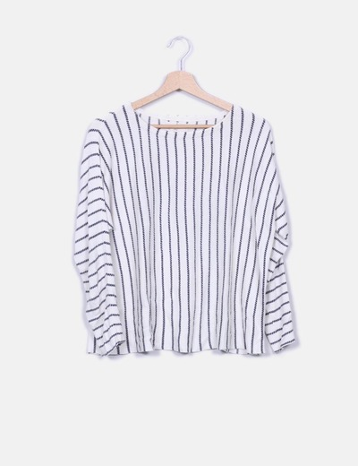 Pull beige marine rayé tricot Springfield