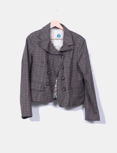 Conjunto de blazer y falda marrón de cuadros Laga