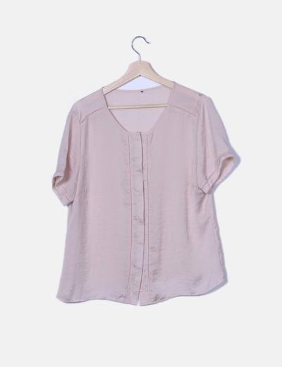 Camisa satinada rosa manga corta