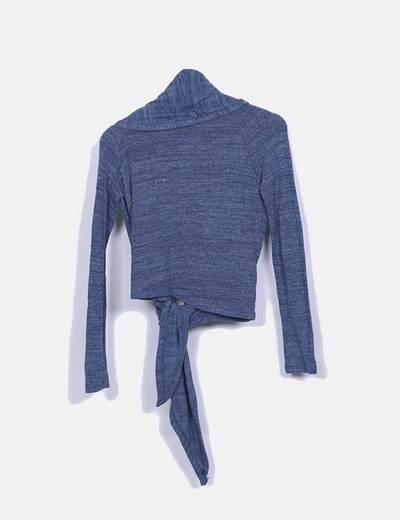 Jersey de punto azul detalle nudo