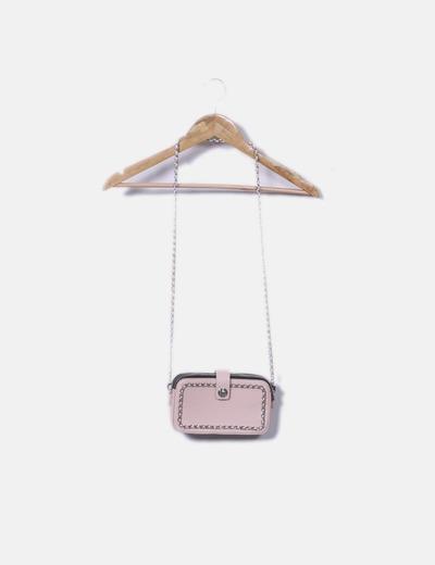Bolso mini rosa con cadena