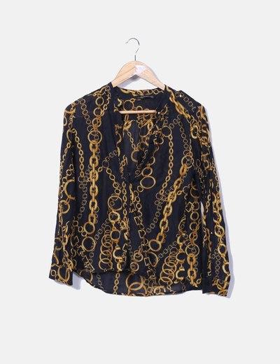 precios baratass gran venta reputación primero Camisa negra estampado cadenas