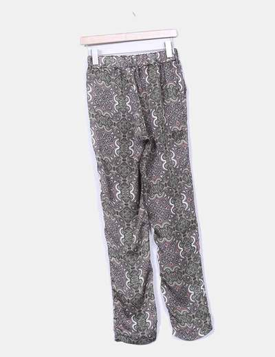 Pantalon baggy estampado cachemira verde