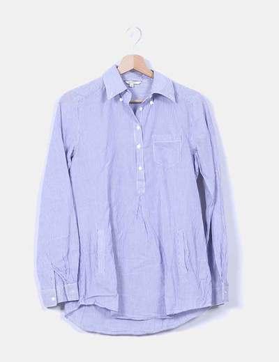 Camisa larga rayas azules Stradivarius