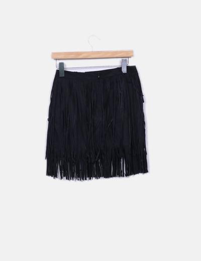 Mini falda antelina negra flecos