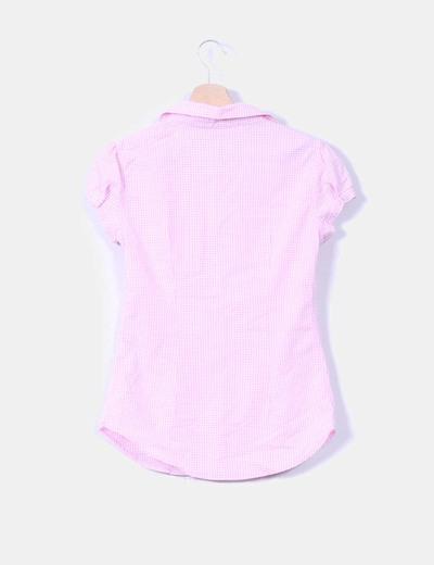 Camisa cuadritos con fruncido en hombros