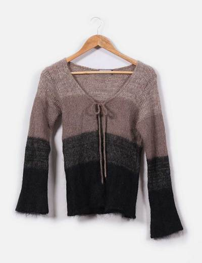 Cárdigan franjas tonos marrones Sweater House