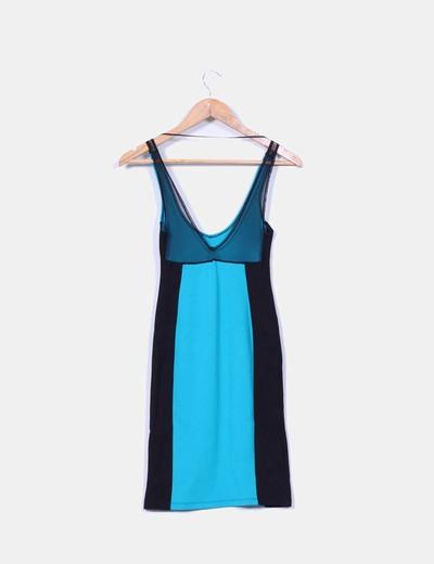 Vestido entallado bicolor combinado