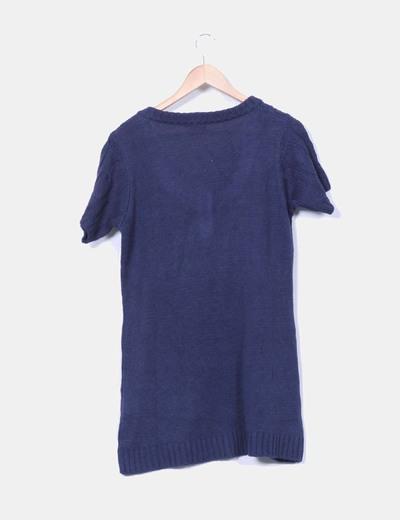 Vestido punto azul marino manga corta