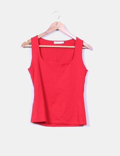 Camiseta roja elástica Zara