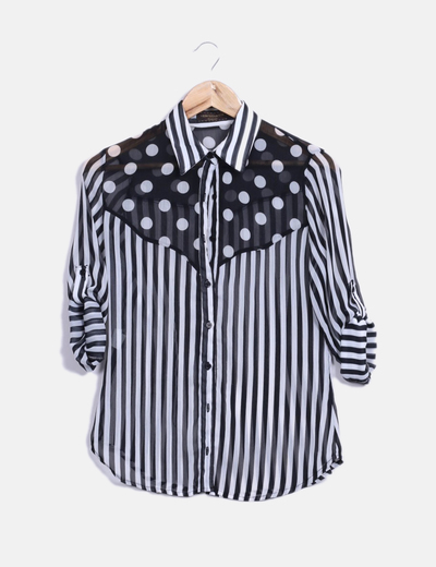 Blusa manga larga bicolor Veintitantos
